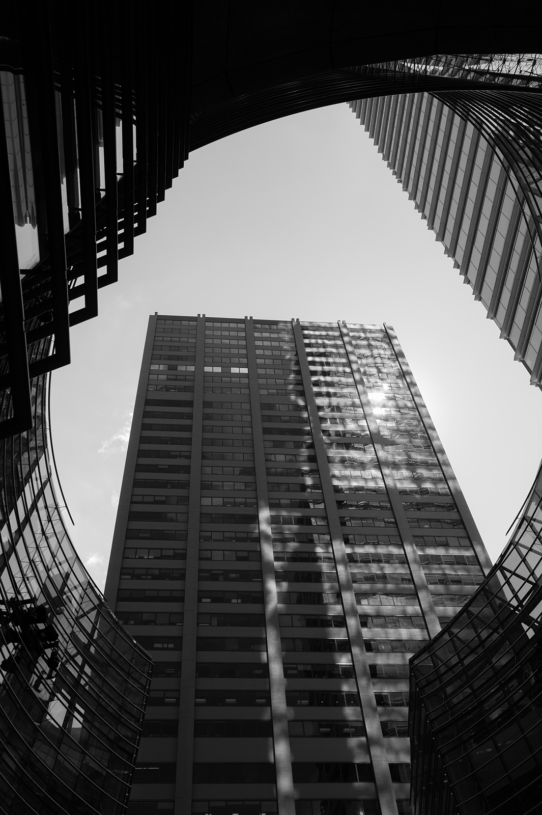 Upward view of giant buildings in New York, USA