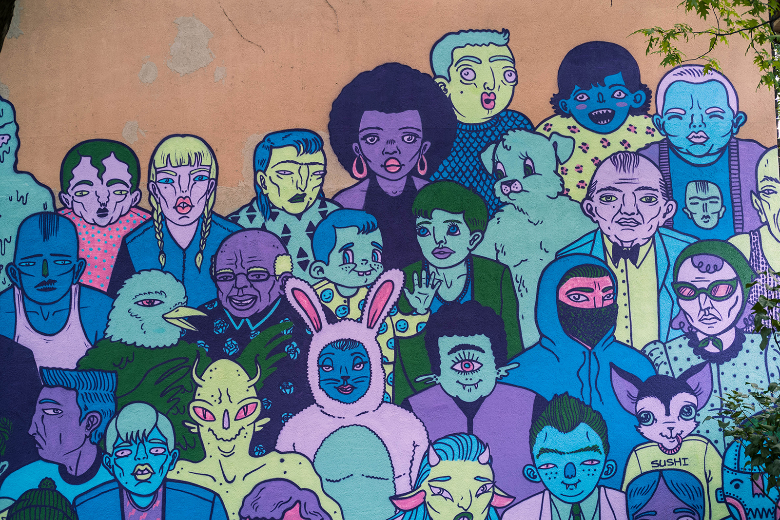 mural of different people